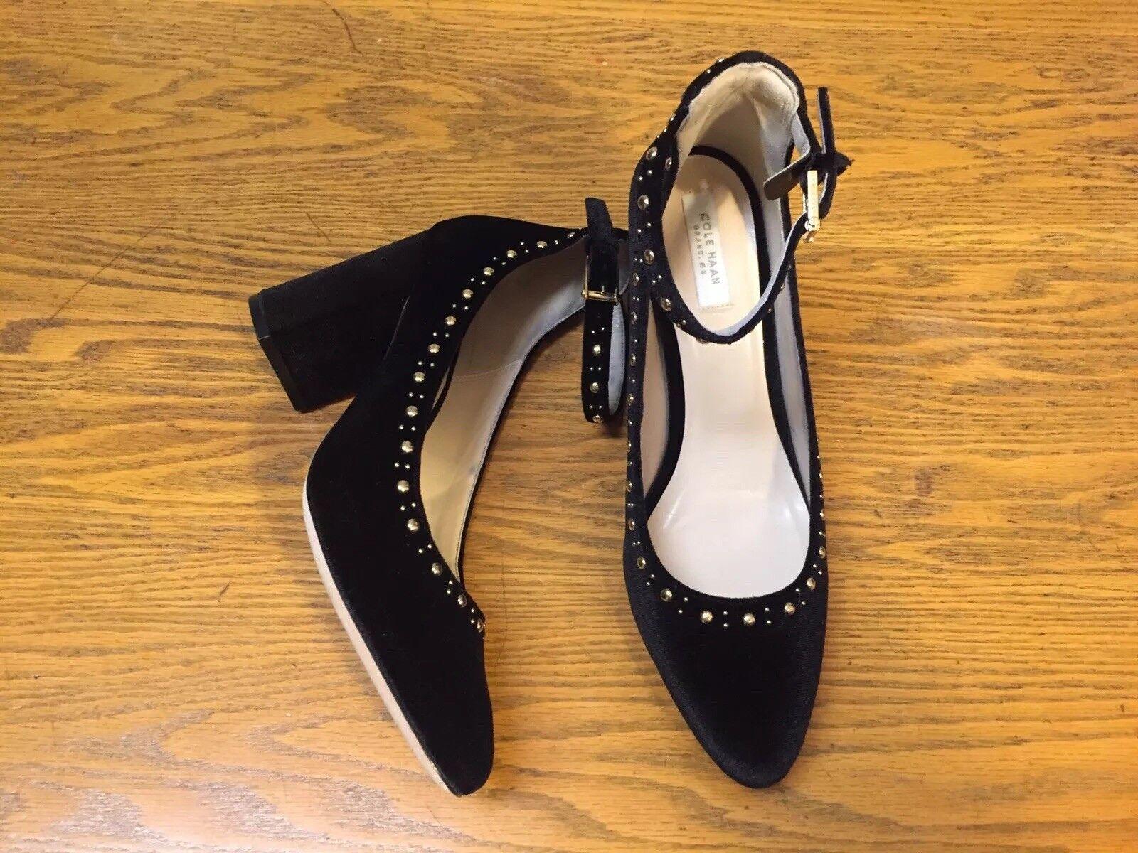 Cole Haan Larue velours Clous Bride Cheville Talon chaussures Nouveau Taille 7.5