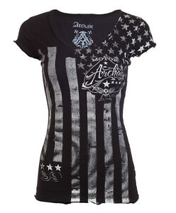 ARCHAIC-by-AFFLICTION-Womens-T-Shirt-NATION-Motorcycle-Biker-USA-FLAG-Sinful-40