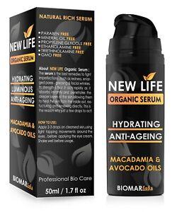 NEW LIFE Bio Sérum Liftant Visage Anti Âge Rides Taches Hydratant Vegan 50ml