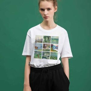 White-T-Shirt-For-Girl-Women-Oil-Painting-Printed-England-US-UK-Tee-Shirt