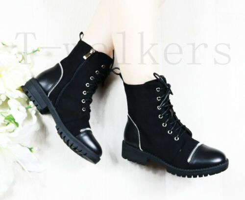 WOMENS LADIES LOW HEEL LACE UP ZIP PUNK BIKER COMBAT ARMY MILITARY ANKLE BOOTS