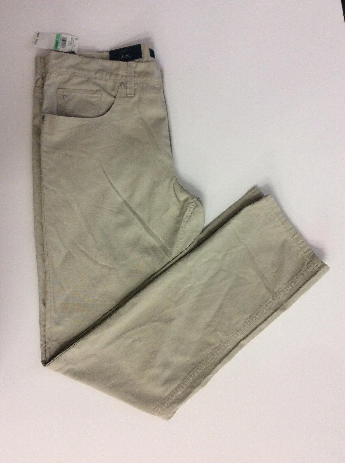 Perry Ellis Men's Slim Fit Piece Dyed Flat Front Pants,Khaki, Size  34x34