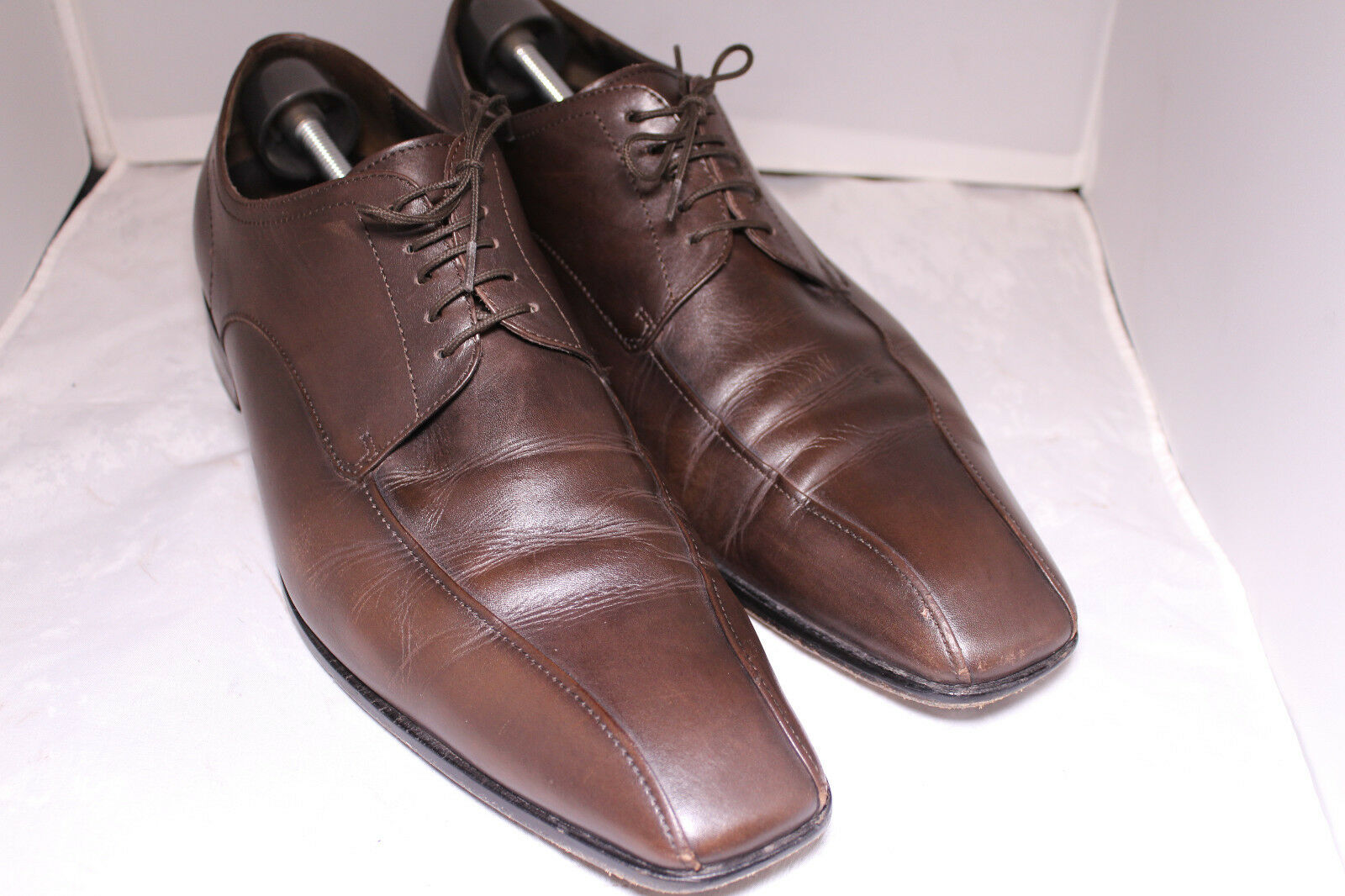 Hugo Boss Men Brown Laced Romes Vero Cuoio Leather Oxford Dress shoes Sz 12