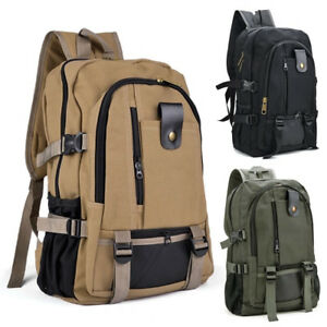 Men-Canvas-Backpack-Rucksack-Travel-Sport-Laptop-Hiking-Camping-School-Book-Bag