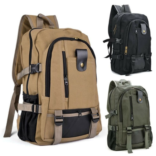 Mens Bags Canvas Backpack Casual Rucksack Travel Sport Large Laptop School Bag