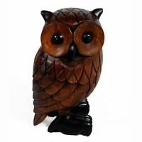 Owl Figure Sculpture 41cm Solid Acacia Wood Carving Animal Bird Ornament