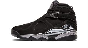 Nike air jordan 8 uomini retrò cromato nero / bianco / luce di grafite 17 nuove dimensioni