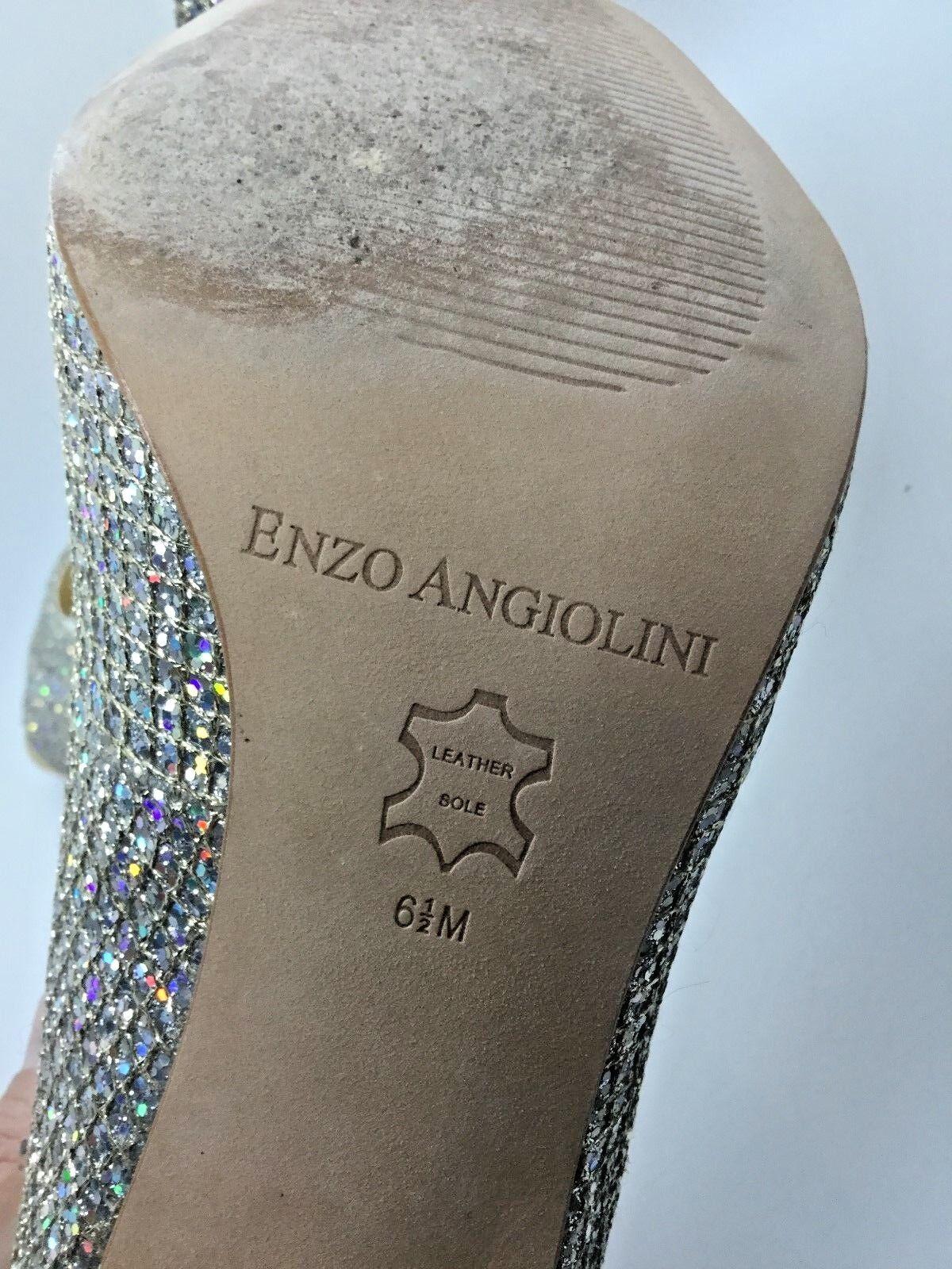 ENZO ANGIOLINI Gold Silber Peep Merryann Peep Silber Toe Pump Größe 6.5 0972fa