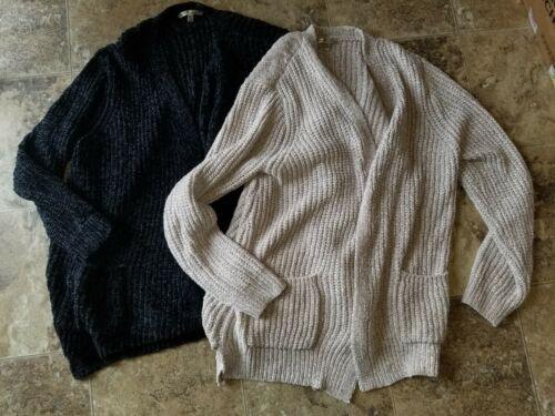 New Womens Seven 7 Boyfriend Chenille Cardigan Sweater Taupe Black S M L XL 2XL