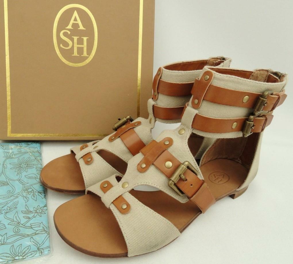 ASH Beige  Tan Buckled Strap Sandals Flats bottes UK7   EU40