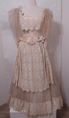 Vintage Cream Raw Ecru Silk Embroidered Gown W/Train XS