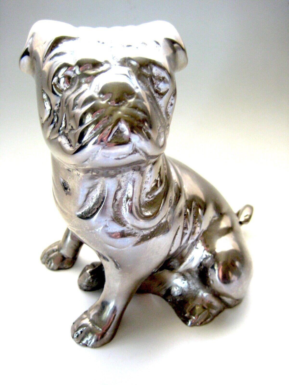 Bulldog Cast Aluminum Sitting Pug Dog Puppy 5 Figurine Shiny Mirrored Ebay