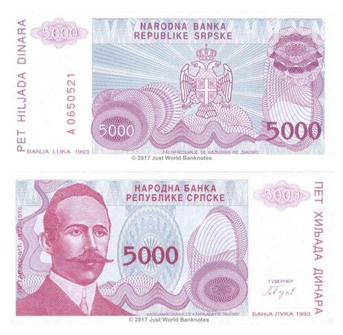 Bosnia /& Herzegovina 5000 Dinara 1993 P-149 Banknotes UNC