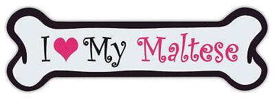Pink Dog Bone Shaped Magnets: I Love My Maltese | Cars, Trucks and More!
