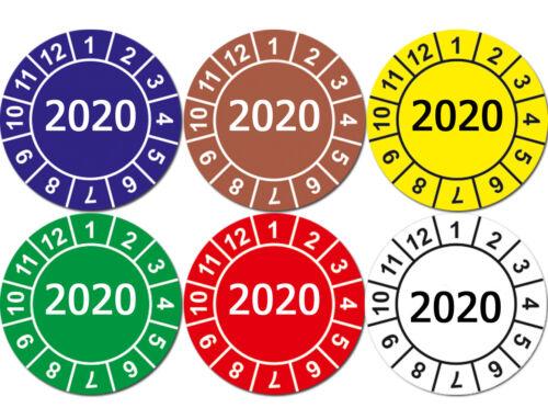 Prüfplaketten Jahresplaketten 2020 GELB Wartung Prüfung Matt Ablösbar Folie