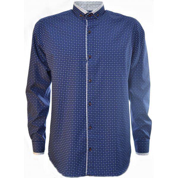 Guide London   Navy Flower Pattern Long Sleeve Shirt