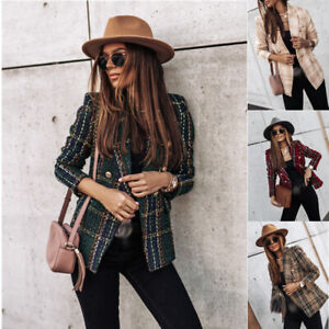 Womens Blazer Suit Top Jacket Casual Ladies Tweed Wool Office Coat Plus Size 2XL