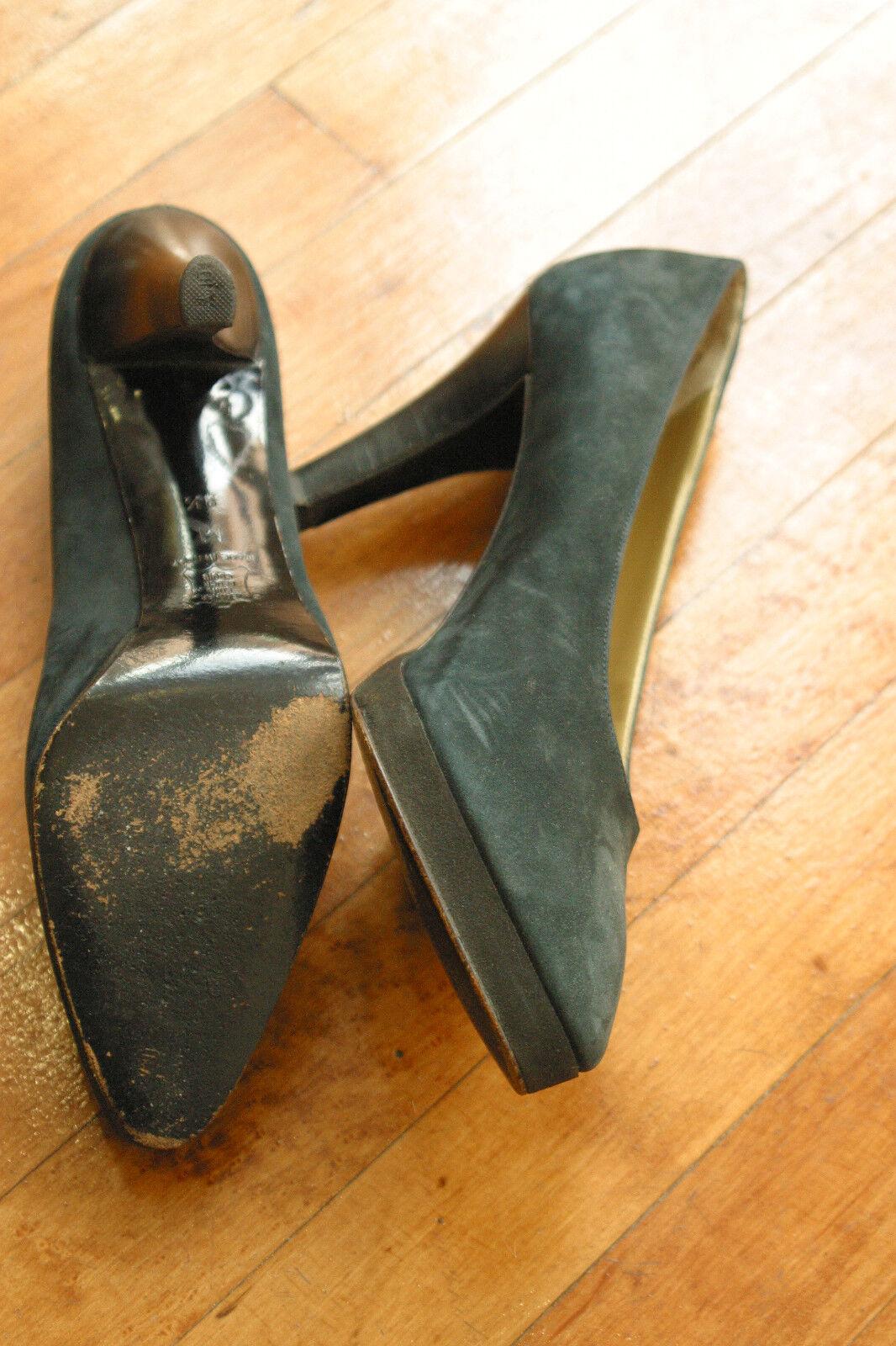 Yves Heels Saint Laurent Suede Platform Heels Yves Schuhes 9.5 M Green Gray 1987a7