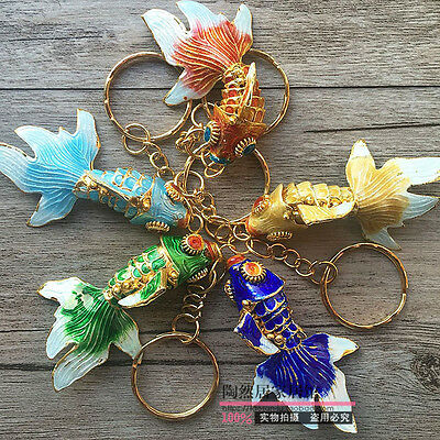Decorative Collectibles Wholesale 5pcs Chinese Handmade Cloisonne Cute Fish Phone &key Chain Charm