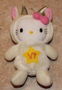 NEW-Hello-Kitty-May-2000-Sanrio-Doll-of-the-Zodiac-Capricorn-Bean-Bag-6-in-Plush
