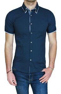 Camicia-uomo-Diamond-Class-blu-scuro-slim-fit-aderente-casual-primavera-estate