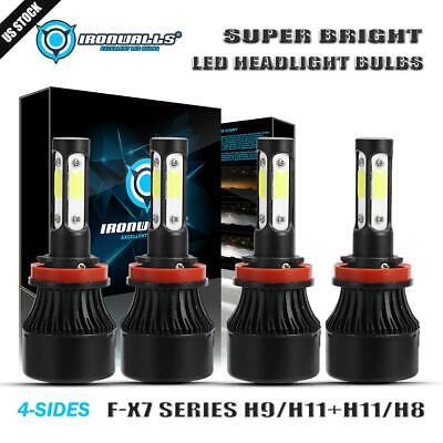 4PCS H11//H9//H8 LED Headlight Bulbs Hi/&Lo Fog Kit 6500K for Toyota Tacoma 16-19