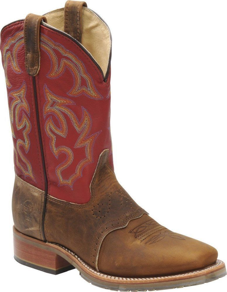 Double H Mens 11  Domestic Square Toe RED ICE Roper Leather Cowboy Boots Western