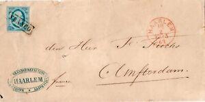 5 CENT KONING WILLEM III,  BRIEF 1863 HAARLEM BRANDVERZEKERING NAAR AMSTERDAM
