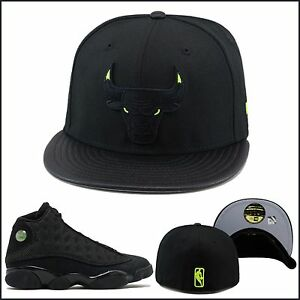 New-Era-Chicago-Bulls-Cappello-Aderente-Nero-Verde-Neon-Occhio-Jordan-13-Gatto