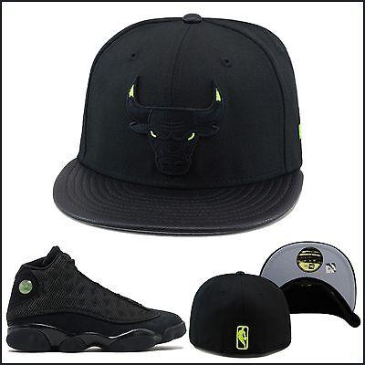 Soleggiato New Era Chicago Bulls Cappello Aderente Nero/verde Neon Occhio Jordan 13 Gatto Design Accattivanti;