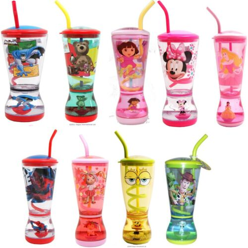 Girls Boys Charcter Childrens Disney Drinking Glitter Bubble Glasses Cup