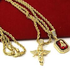 """Mens Gold Angel & P Ruby Bundle Set Cz Pendant Hip Hop 24"""" & 30"""" Rope Chain D463"""