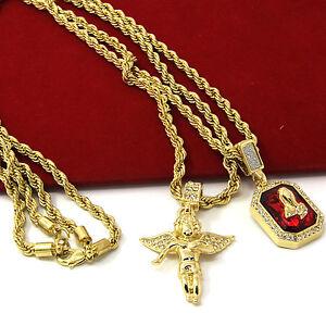 Mens gold angel p ruby bundle set cz pendant hip hop 24 30 image is loading mens gold angel amp p ruby bundle set aloadofball Images