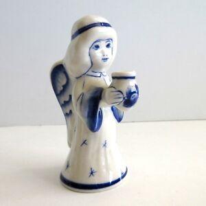 Gzhel-Russian-Blue-White-Angel-Porcelain-4-034-tall-holding-vase-or-candleholder