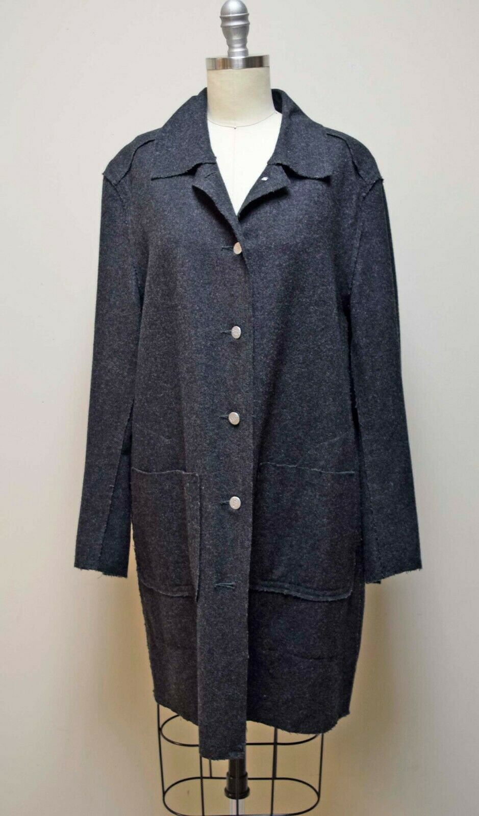 LIFE BASICS Reclaimed Wool Gray Flannel Unlined Knee Length Coat Size S/M