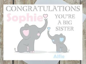 f0ab1db1 Image is loading PERSONALISED-BIG-SISTER-CONGRATULATIONS-CARD-NEW-BIG-SISTER -