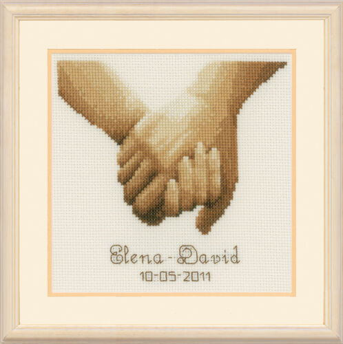 """Vervaco Counted Cross Stitch Kit Holding Hands 6.4/"""" x 7.6/"""""""