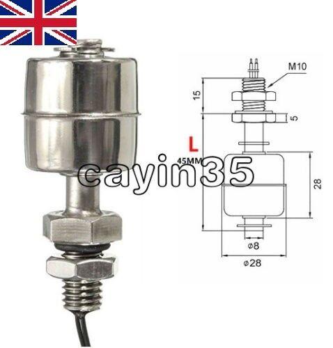 Sensor de nivel de agua indicador Mini Vertical De Acero Inoxidable 45mm Interruptor de Flotador Reino Unido