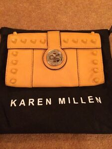 Karen-Millen-Lovely-Mustard-yellow-Leather-Stud-Purse-In-Vgc-Condition