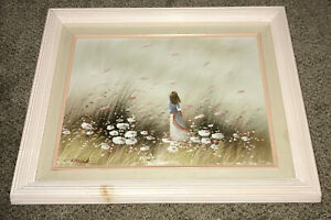 Canvas-Oil-Painting-Seascape-Vintage-Child-Signed-Laura-Keswick-Framed-17-Hx21-W