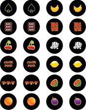 "NOVELTY PRECUT GAMBLING SLOT MACHINE MIX (BLACK) Cupcake Cake Toppers 24x1.3"""