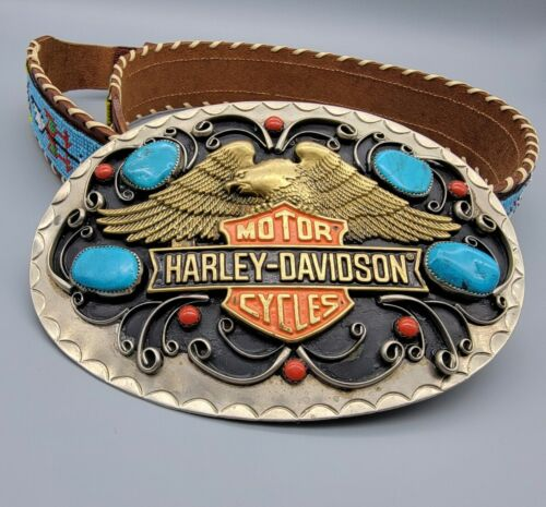 Rare 2005 Harley Davidson animal print belt heavy buckle Genuine leather