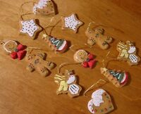 Lot Of 12 Mini Gingerbread Man Men Christmas Tree Cookie Holiday Ornaments