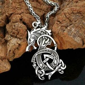 Wolf-Necklace-Pendant-Vintage-Wolf-Head-Animal-Women-Jewelry-Silver-Men-Q4S6