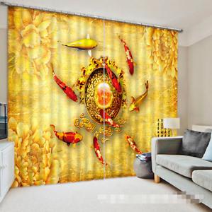 Carpa 3D Color 33 Cortinas de impresión de cortina de foto Blockout Tela Cortinas Ventana Reino Unido