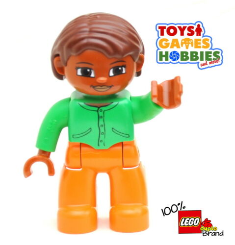 *NEW* LEGO DUPLO Female Woman Girl Figure Mother Mom Hispanic Green Shirt Orange