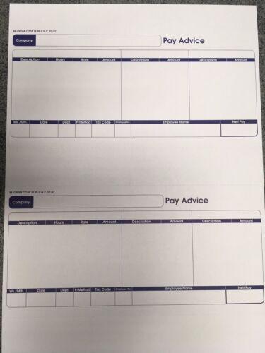 COMPATIBLE ON LASER /& INKJET PAPER A4 210x297mm 2up SE95S 1000 SAGE PAYSLIPS