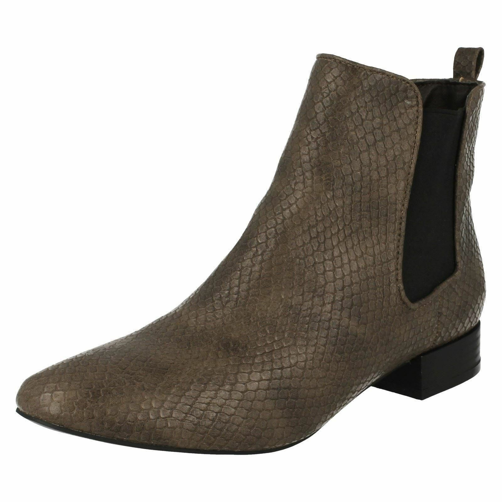 """Spot On F50558 Ladies Taupe Synthetic Snake Print 1"""" Block Heeled Chelsea Boots"""