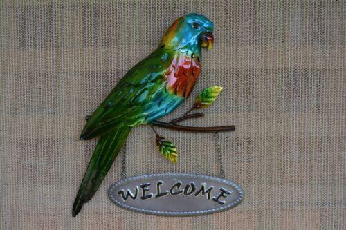 Lorikeet Parrot Welcome Sign Metal Wall Art Plaque Indoor Outdoor 30cm