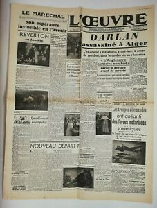 N719-La-Une-Du-Journal-L-039-uvre-27-decembre-1942-Darlan-assassine-a-Alger